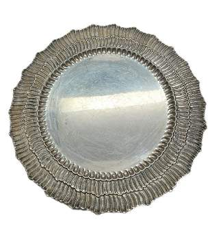Buccellati Linenfold Sterling Silver Round Serving Tray