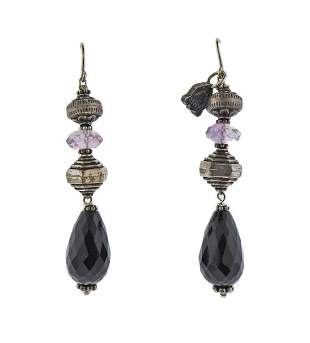 Buccellati Silver Onyx Amethyst Drop Earrings