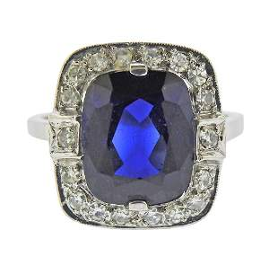Art Deco 14k Gold Blue Stone Diamond Ring