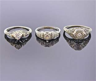 Art Deco 18k Gold Diamond Engagement Ring Lot 3pc