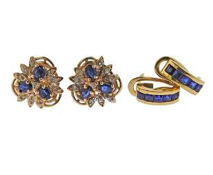 14k 18k Gold Diamond Sapphire Earrings Lot of 2pc
