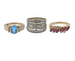 Gold Diamond Gemstone Ring Lot 3pc