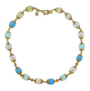 Judith Ripka 18k Gold Diamond Gemstone Pearl Necklace