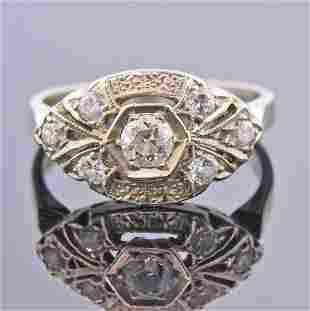 Art Deco 14k Gold Old Mine Diamond Engagement Ring