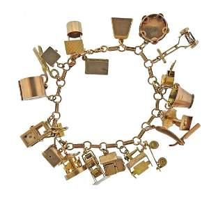 1960s 14k Gold Multi Charm Bracelet