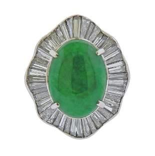 Platinum 3.44ct Natural Jadeite Jade Diamond Cocktail