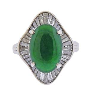 3.44 Carat Natural Jadeite Jade Diamond Platinum