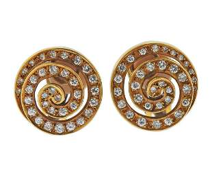 Bvlgari Bulgari 18k Gold Diamond Swirl Earrings