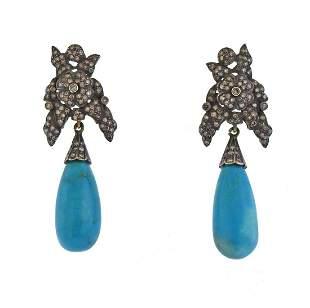 14k Gold Silver Turquoise Rose Cut Diamond Earrings