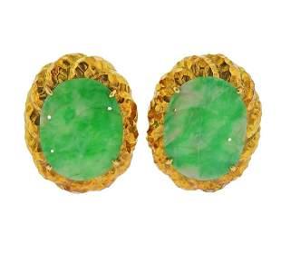 18k Gold Carved Jade Earrings