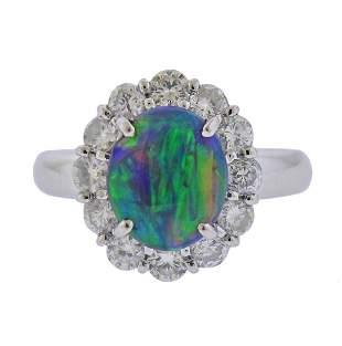 Platinum EGL 1.51 Carat Opal Diamond Cocktail Ring