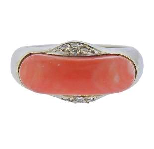 14k Gold Diamond Coral Ring