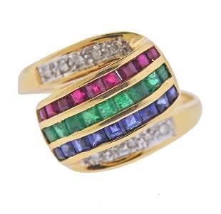 14k Gold Diamond Ruby Emerald Sapphire Ring