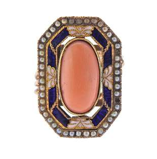 Antique Victorian 14k Gold Coral Seed Pearl Enamel Ring