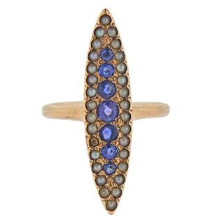 Antique Victorian 18k Gold Sapphire Seed Pearl Ring