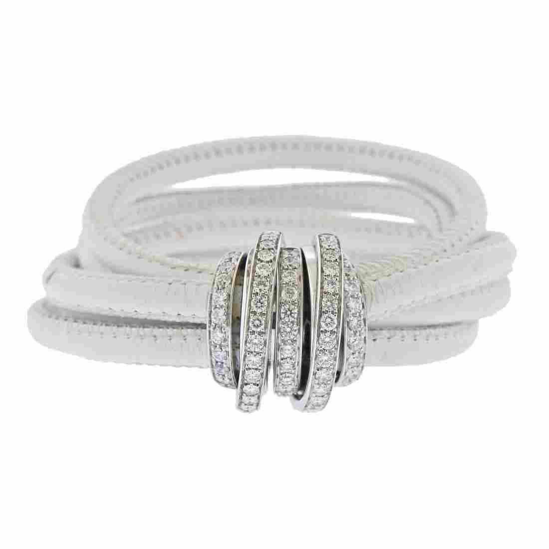 De Grisogono Allegra 2.36ctw Diamond Gold Leather Brace
