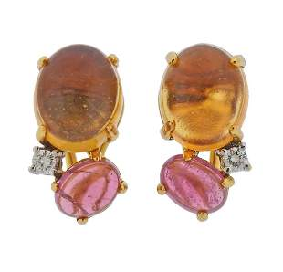 Kylo 18k Gold Diamond Pink Tourmaline Citrine Earrings