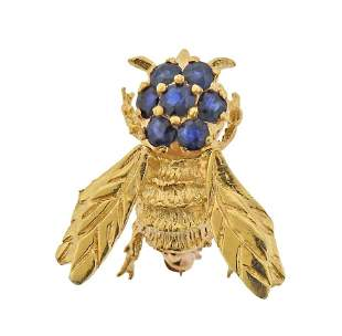 14k Gold Sapphire Bee Insect Brooch Pin