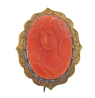 Antique 14k Gold Coral Cameo Brooch Pin