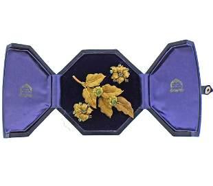 Mario Buccellati Emerald 18k Gold Leaf Earrings Brooch