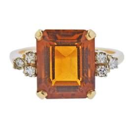 14k Gold 5.66ct Citrine Diamond Ring