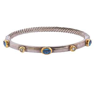 David Yurman 18k Gold Silver Diamond Topaz Cable