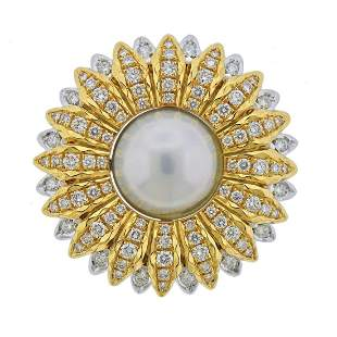 Buccellati 18k Gold Diamond South Sea Pearl Pendant