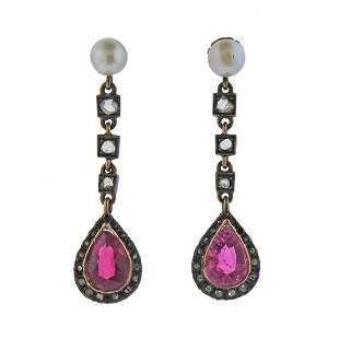 14k Gold Silver Rose Cut Diamond Pearl Pink Stone