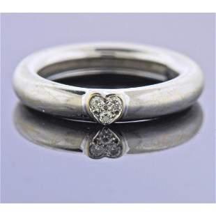 Tiffany & Co 18k Gold Diamond Heart Band Ring