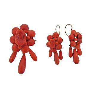 Antique Victorian Gold Coral Earrings Brooch Set in Box