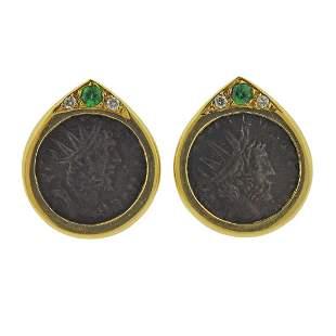 18k Gold Coin Diamond Gemstone Earrings