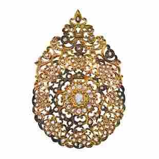 Large Rose Cut Diamond 18k Gold Pendant Brooch Pin