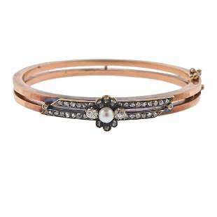 Antique 14k Gold Silver Diamond Pearl Bangle Bracelet