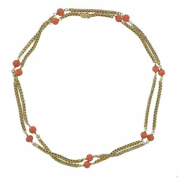 Tiffany & Co 18k Gold Coral Long Necklace