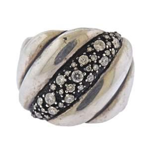 David Yurman Sterling Silver Diamond Wide Band Ring
