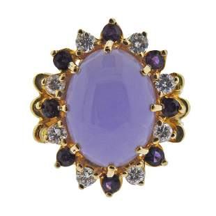 18k Gold Diamond Amethyst Lavender Jade Ring