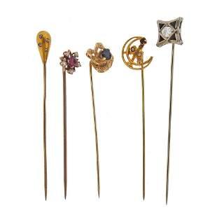 Antique Victorian Art Deco Gold Diamond Stick Pin Lot