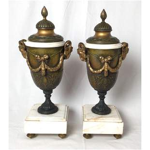 Pair of French Style Marble and Patinated Metal