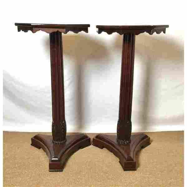 Pair of English Regency Mahogany Pedestal Tables