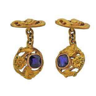 Antique Art Nouveau 18k Gold Gemstone Cufflinks