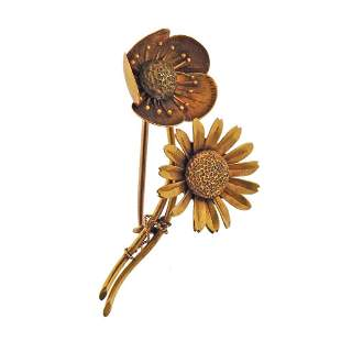 Antique Art Nouveau 18k Gold Sunflower Brooch Pin