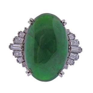 GIA 10.81ct Natural Jadeite Jade Platinum Diamond Ring