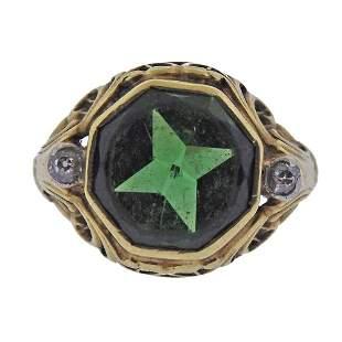Antique English 15k Gold Diamond Tourmaline Ring