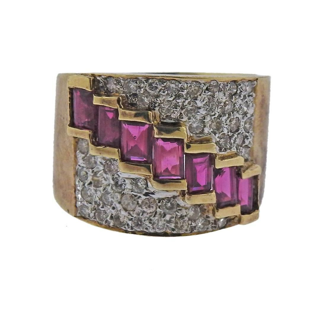 14K Gold Diamond Ruby Wide Band Ring