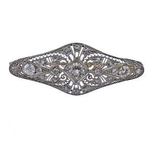 Art Deco Platinum Old Mine Diamond Brooch Pin