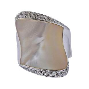18k Mother of Pearl Diamond Cocktail Ring
