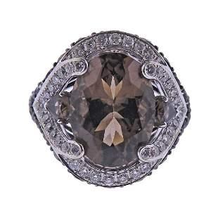 18k Gold Smoky Quartz Diamond Cocktail Ring