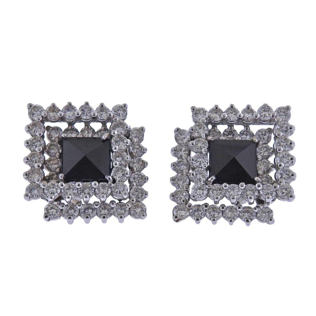18k Gold Diamond Onyx Cocktail Earrings