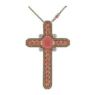 Italian 18k Gold Diamond Coral Pearl Cross Pendant