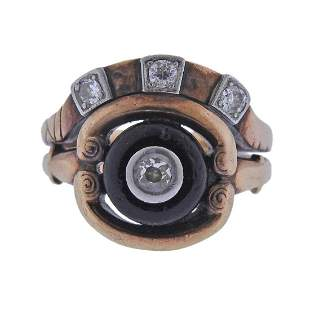 Antique 14k Gold Diamond Onyx Ring